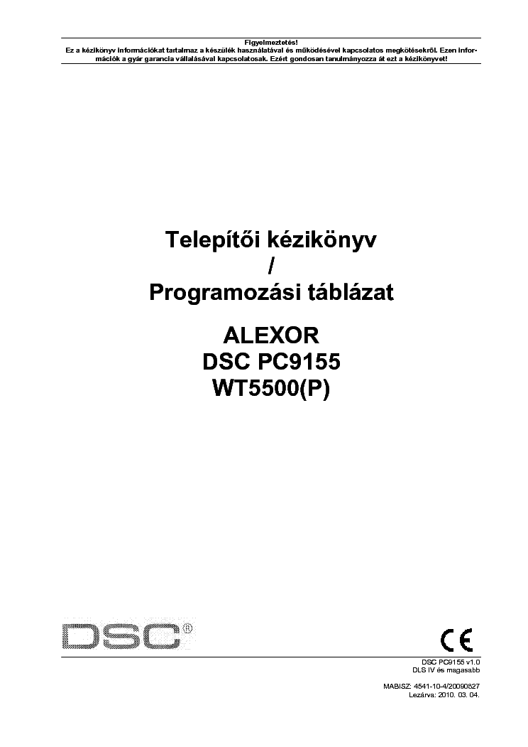 Dsc alexor Programming manual