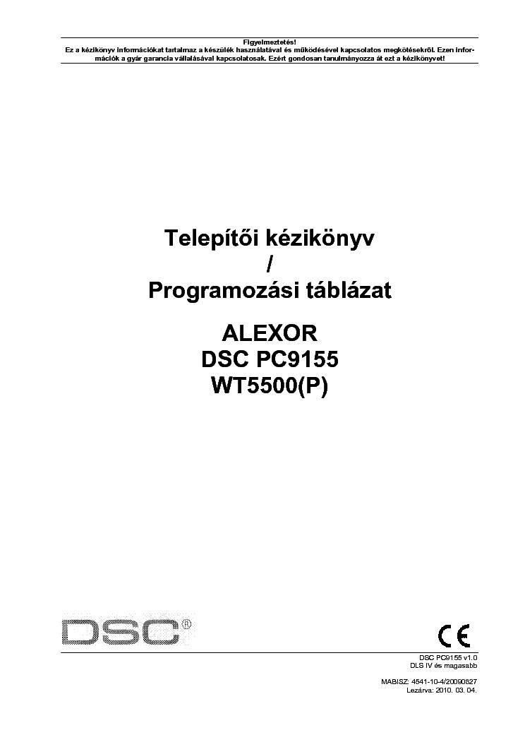 Dsc Pc9155 Alexor Uzembehelyezoi Kezikonyv Service Manual