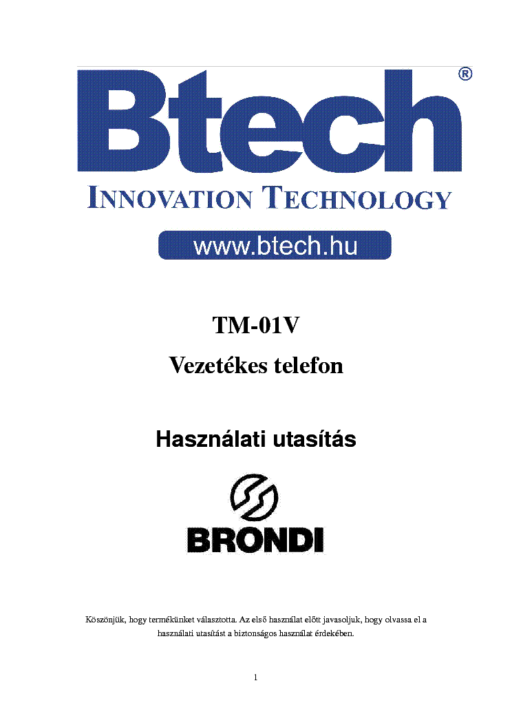 BRONDI BTECH TM01V USERMANUAL HUN service manual
