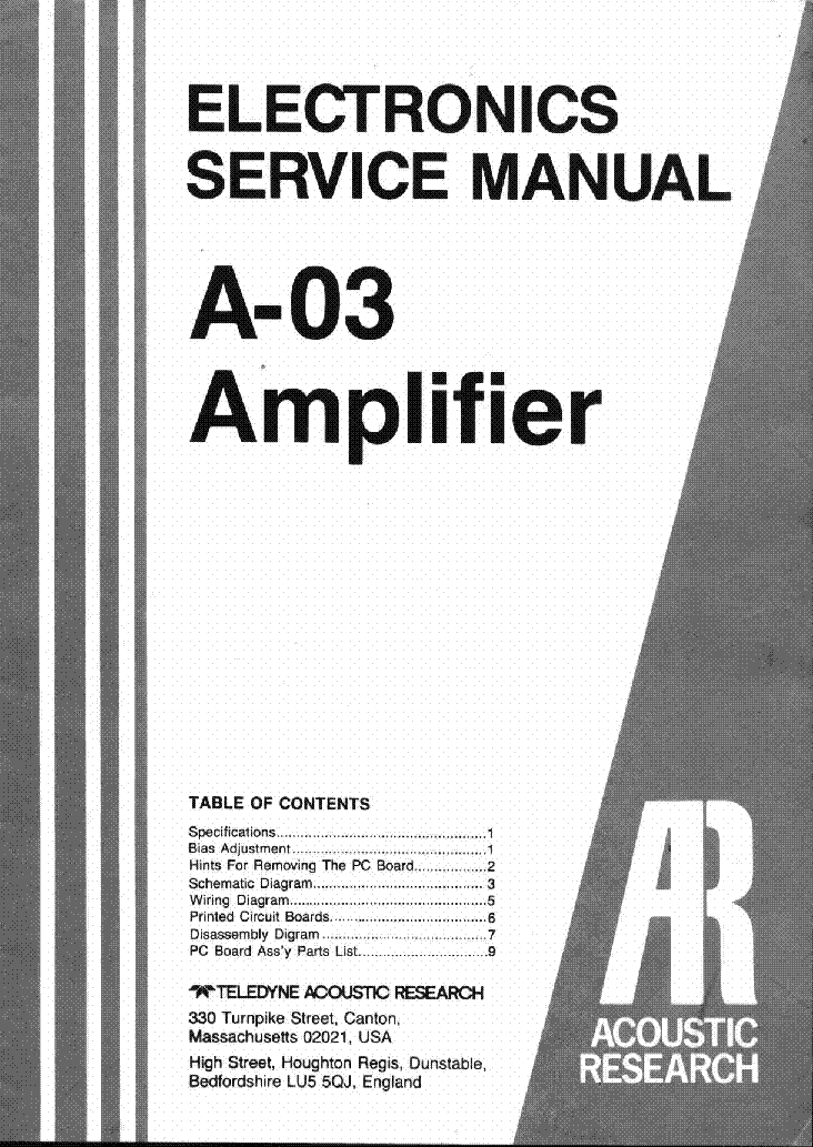 acoustic research a 03 sm 1 service manual download schematics rh elektrotanya com User Manual Guide User Manual Guide