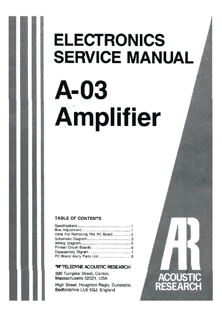 ACOUSTIC-RESEARCH A-03 SM 2 Service Manual download, schematics
