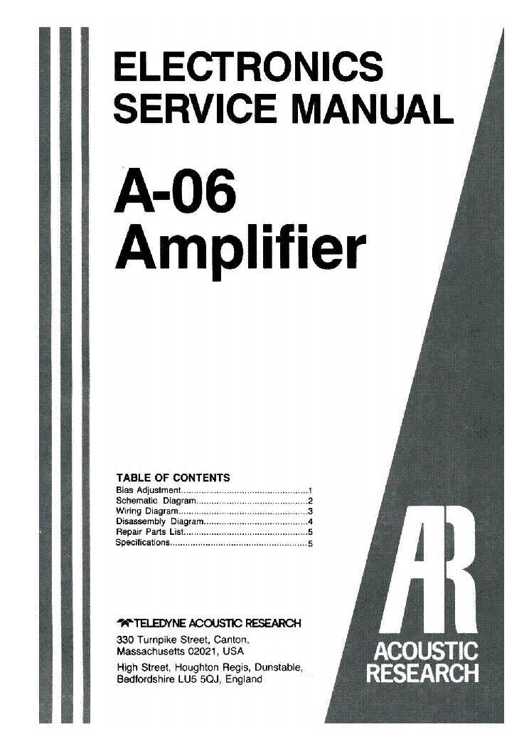 ACOUSTIC-RESEARCH A-06 SM 2 Service Manual download, schematics