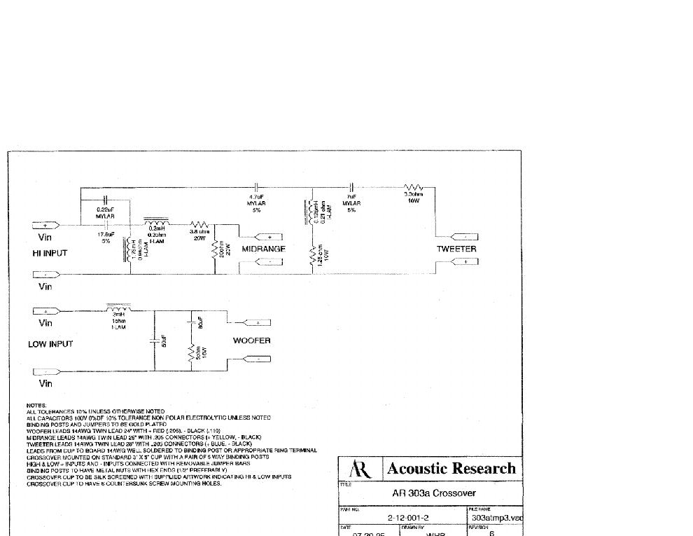 acoustic research ar303a crossover sch service manual download rh elektrotanya com User Manual User Manual Guide