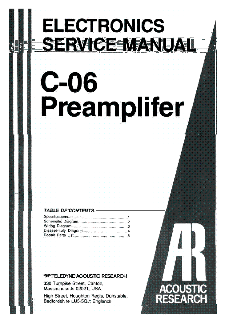 acoustic research c 06 sm 2 service manual download schematics rh elektrotanya com User Manual Maintenance Manual