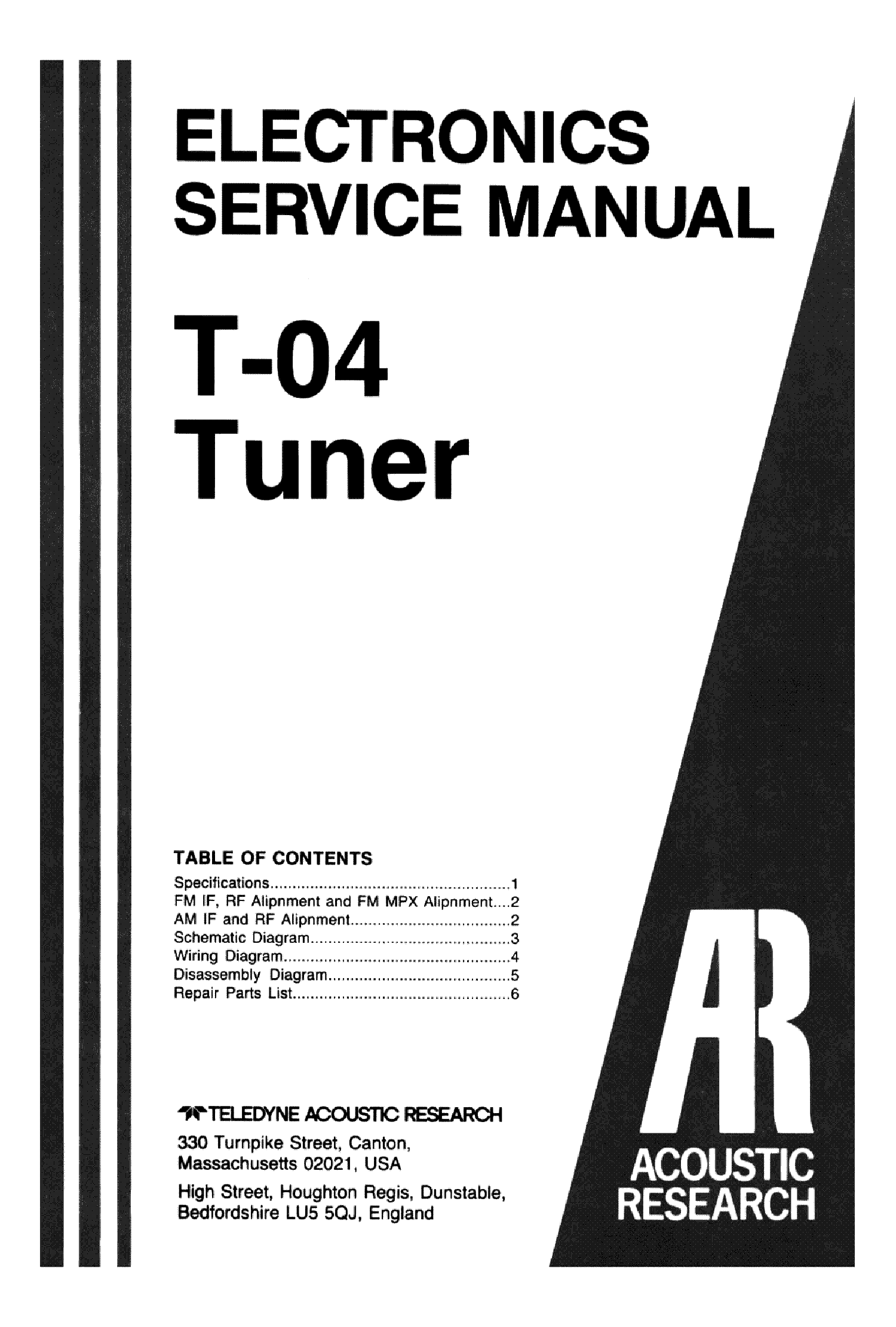 ACOUSTIC-RESEARCH T-04 TUNER Service Manual download, schematics