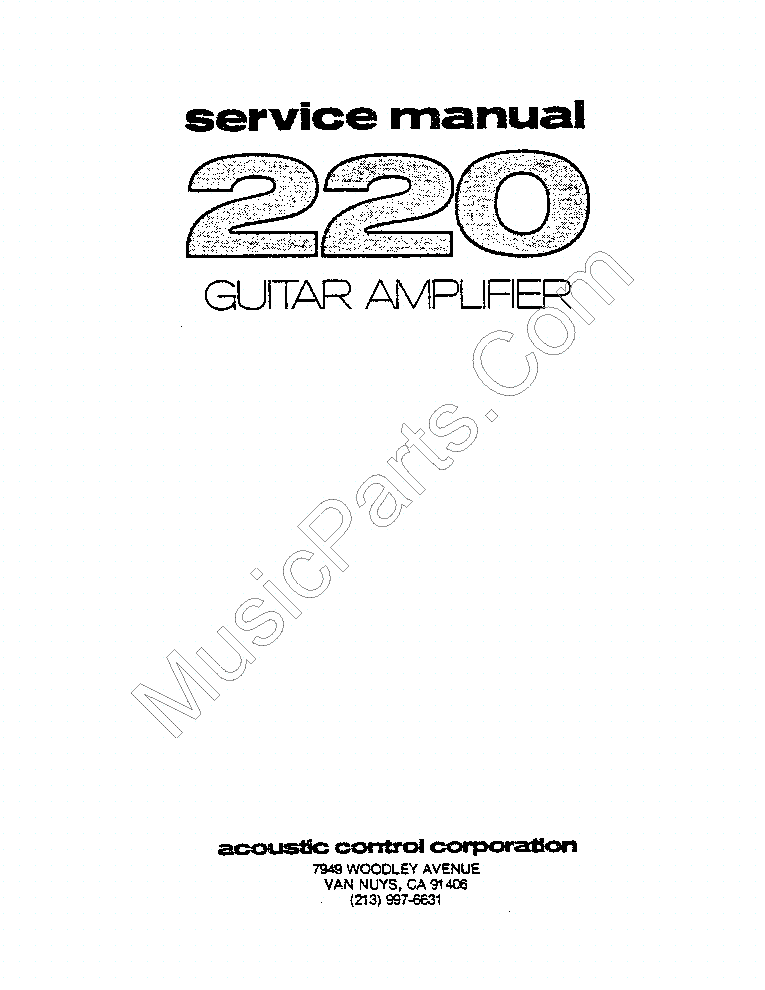 ACOUSTIC 220 GUITAR AMPLIFIER SM service manual (2nd page)