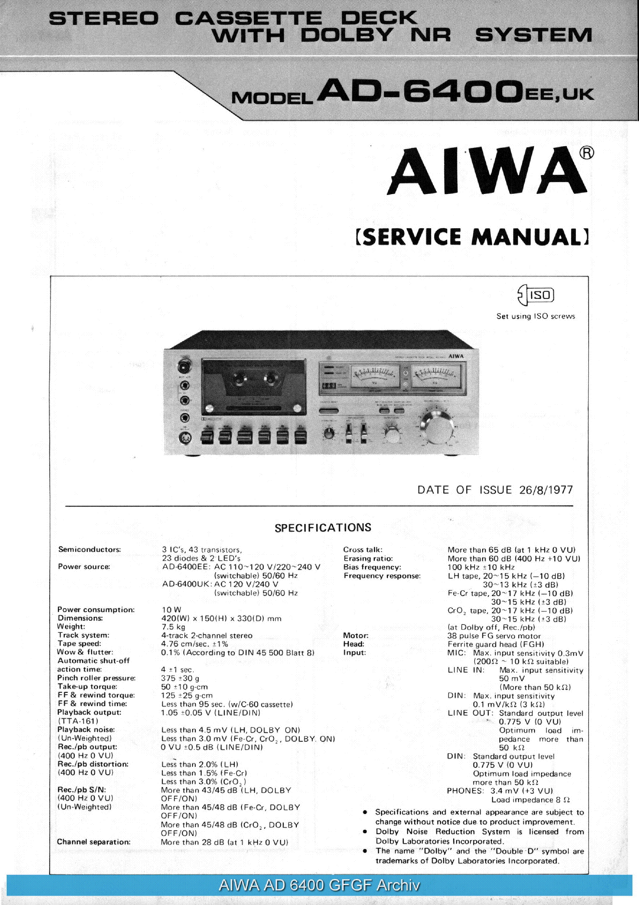 Service Manual Aiwa Ad F360 S15 R460 R30 Stereo Cassette Deck Toshiba Inverter Wiring Diagrams S950 Sm Free Pdf