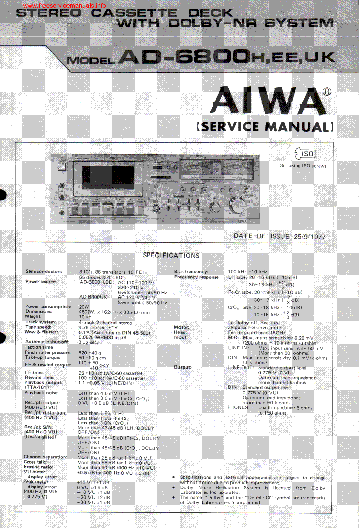 Aiwa Cassette Deck Repair Aiwa Ad-6800 Cassette Deck