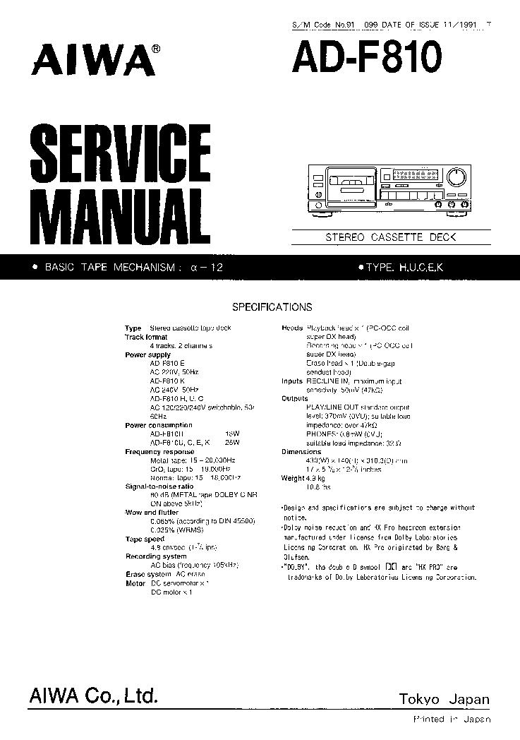 aiwa ad f810 sm service manual download schematics eeprom repair rh elektrotanya com Chilton Manuals Yamaha Service Manuals PDF