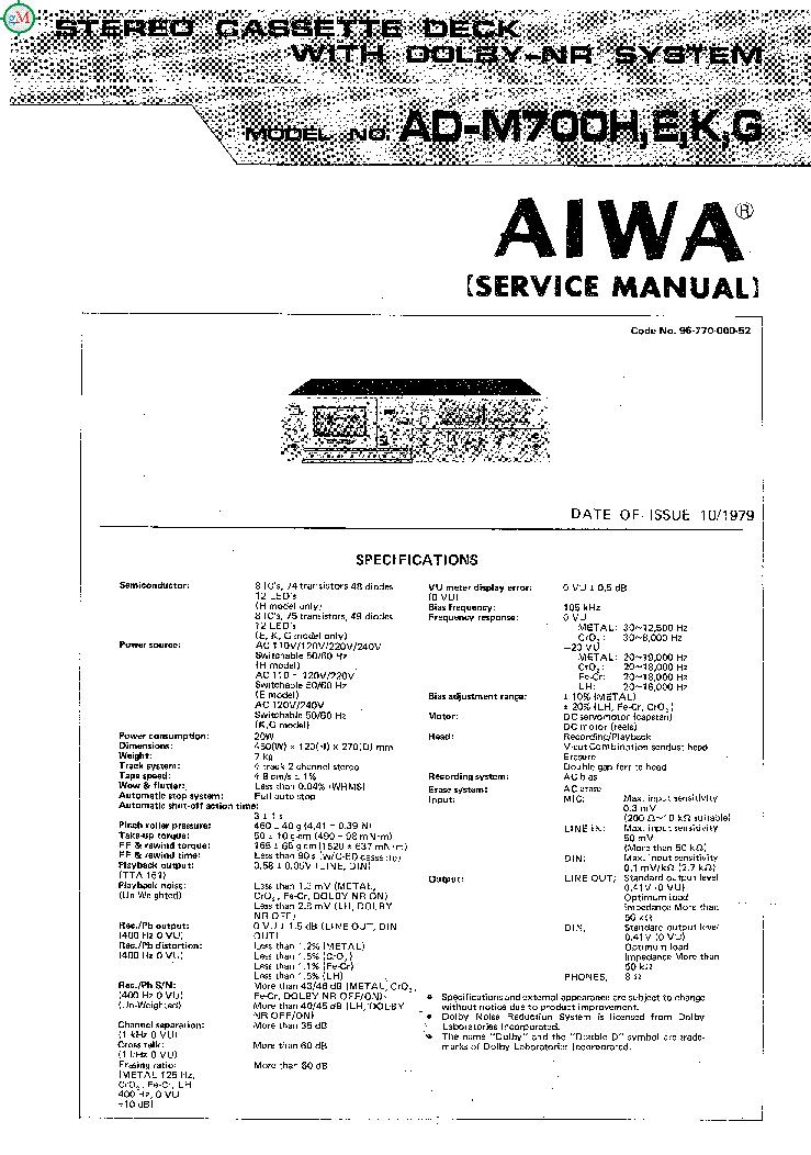 aiwa ad m700 f 66m service manual download schematics eeprom rh elektrotanya com  aiwa xr-m700 user manual