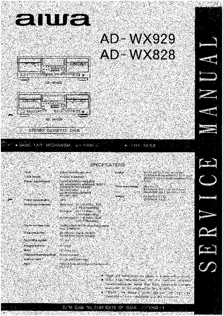 AIWA AD WX929 СХЕМА ПРИНЦИПИАЛЬНАЯ СКАЧАТЬ БЕСПЛАТНО