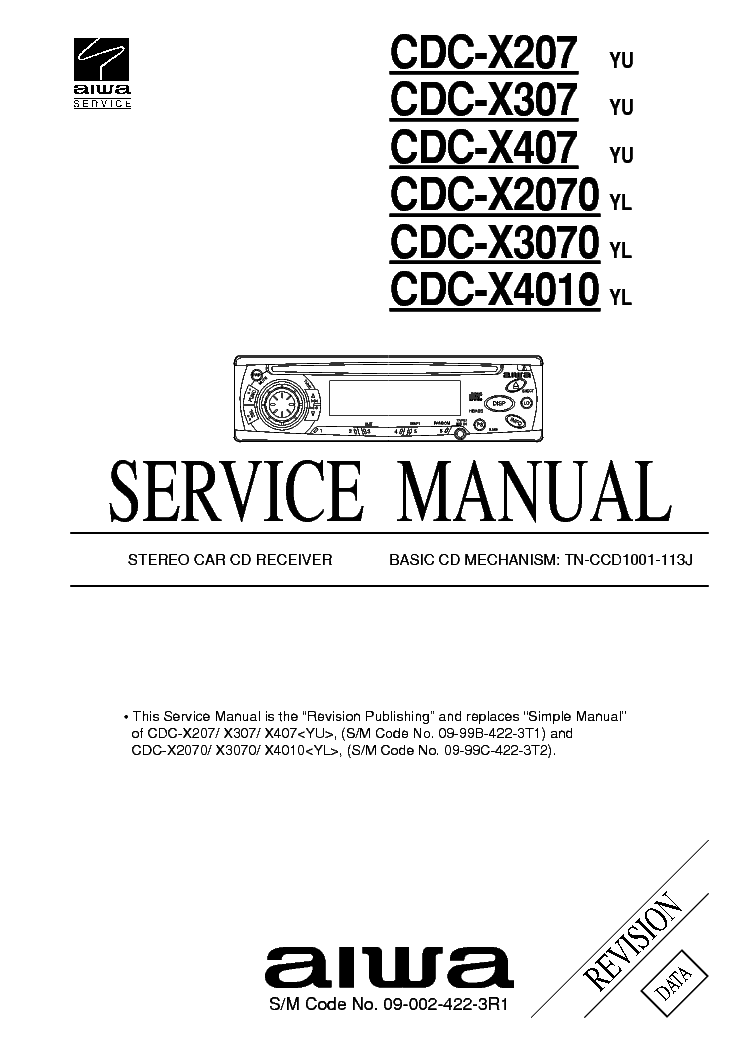 AIWA CDC X207 YU service manual