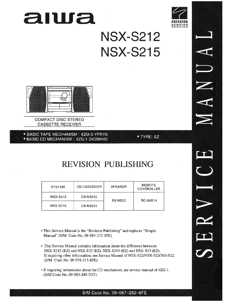 Aiwa nsx 999 mkii service manual