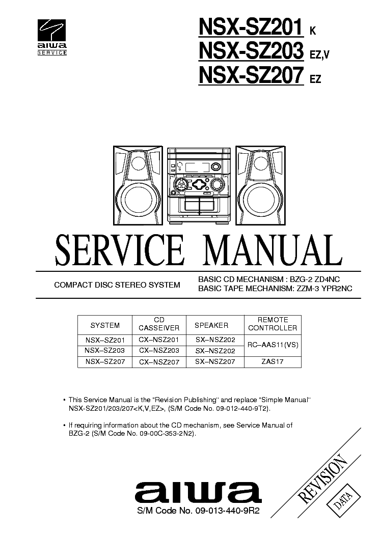 aiwa nsx sz201 sz203 sz207 sm service manual download schematics rh elektrotanya com