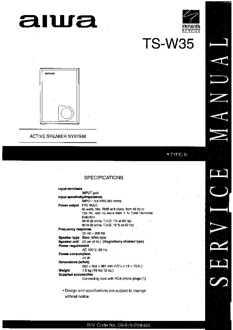AIWA TS-W35 Service Manual download, schematics, eeprom ... on