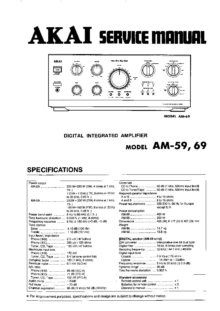 AKAI AM-59 AM-69 SM service manual (1st page)