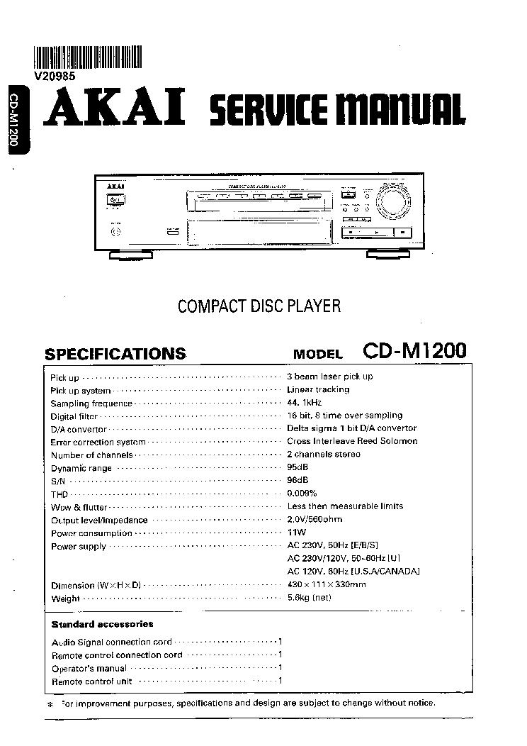 akai cd a7 compact disc player service manual