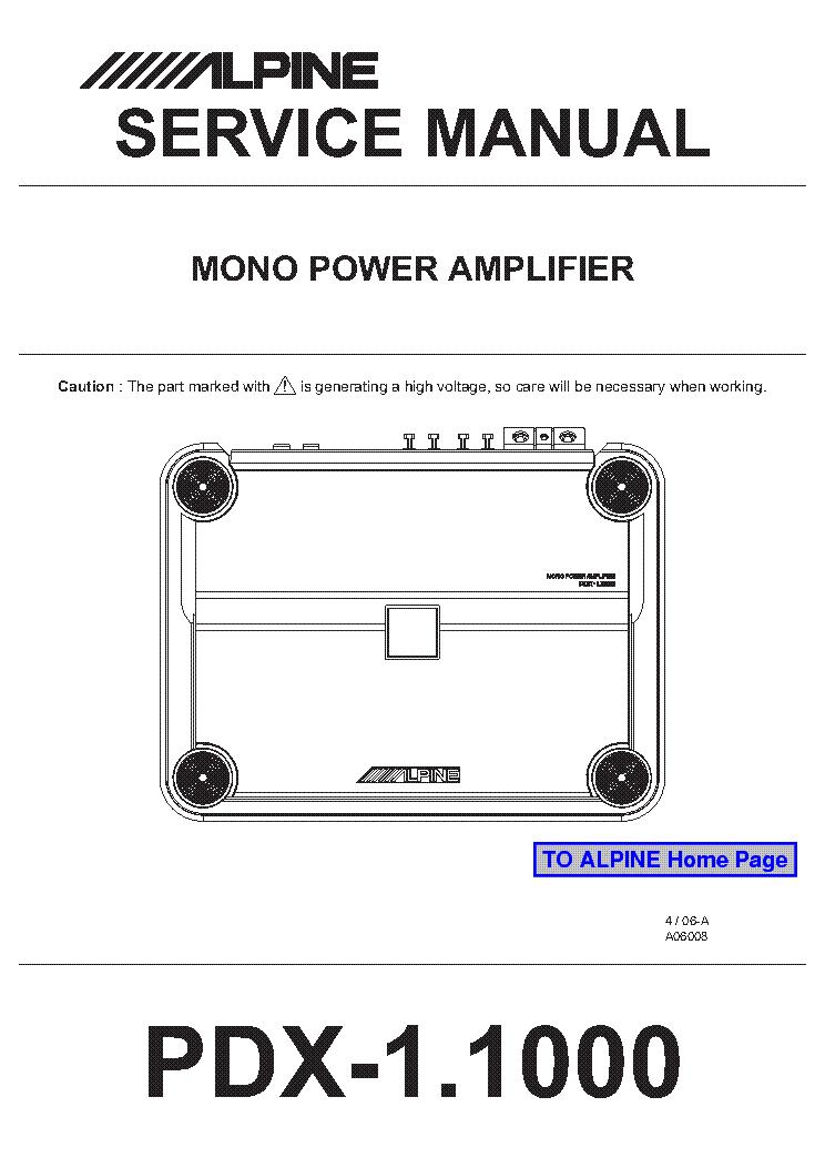 alpine pdx-1 1000 service manual (1st page)