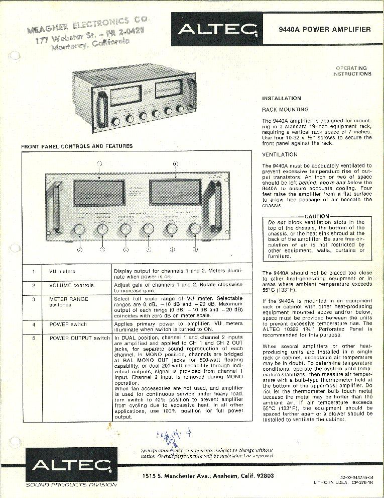 altec 9440 power amplifier service manual download. Black Bedroom Furniture Sets. Home Design Ideas