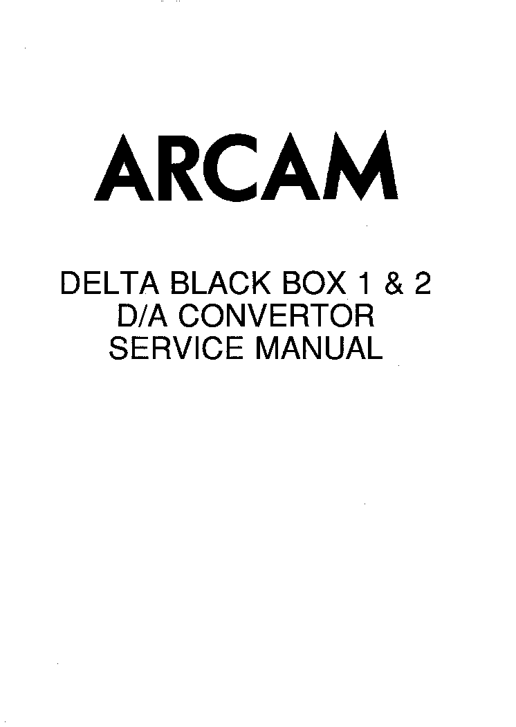 ARCAM BLACK-BOX-1,2 DAC SM Service Manual download