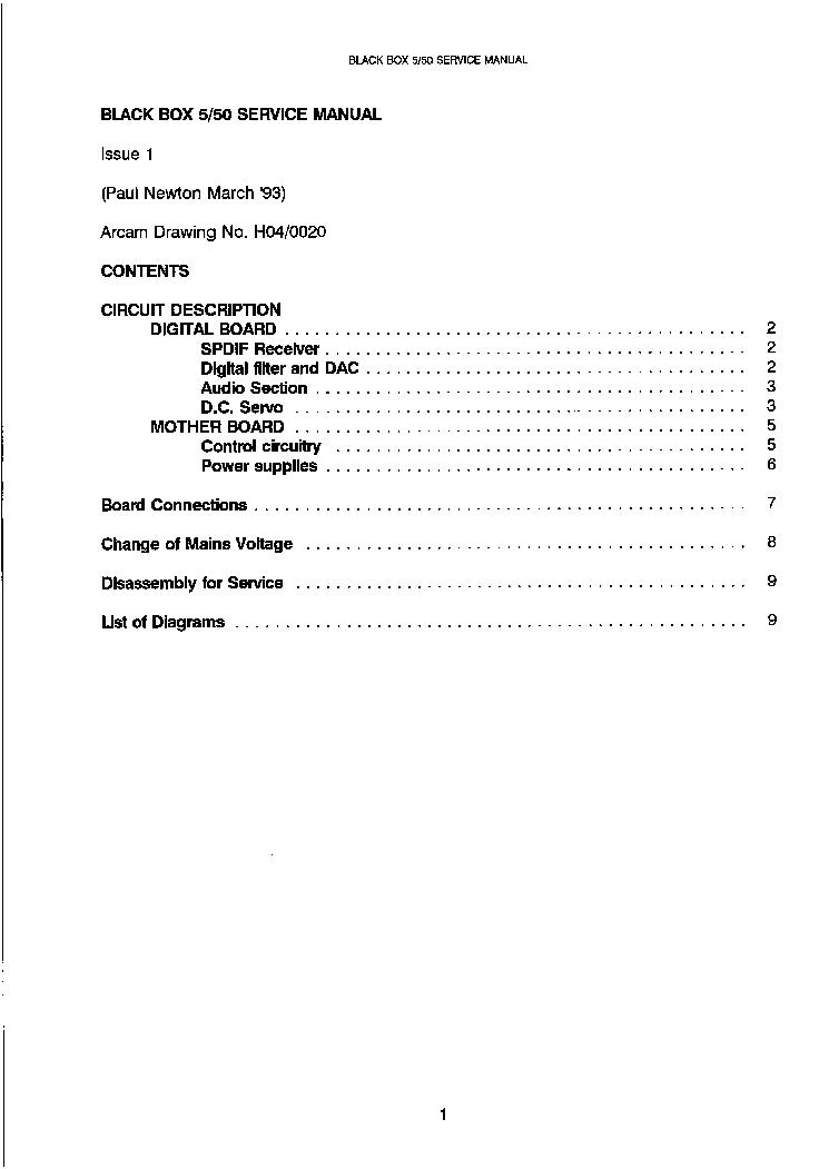 ARCAM BLACK-BOX-5,50 DAC SM Service Manual download, schematics