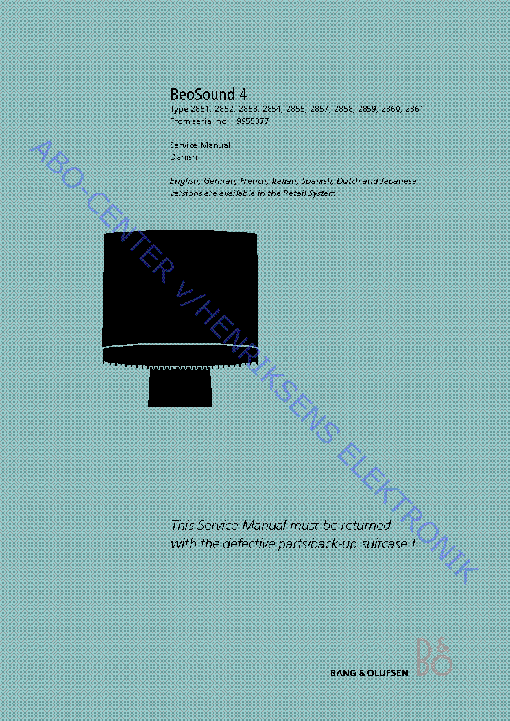 Bang Olufsen Beogram 3000 3300 3500 4500 5005 5500 6500