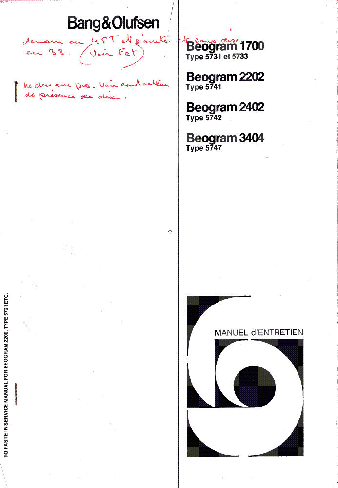 BANG OLUFSEN BEOGRAM 1700 2202 2402 3404 service manual (1st page)