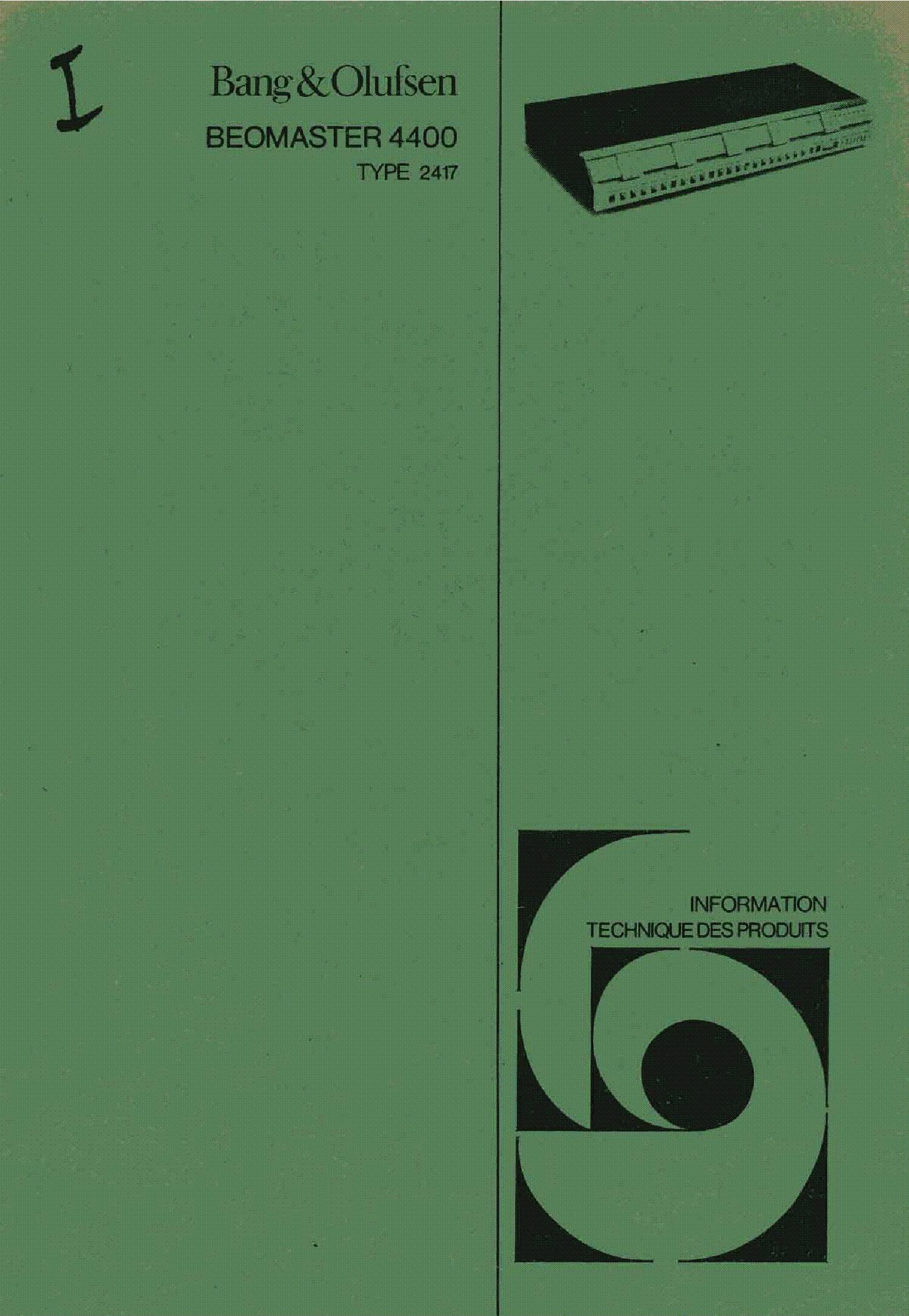 Bang-olufsen beomaster-4400 service manual download, schematics.