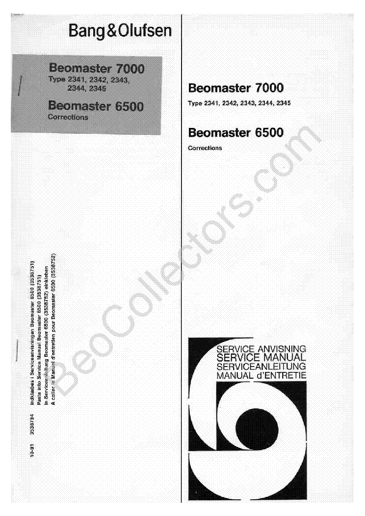 bang olufsen beomaster 6500 7000 sch service manual