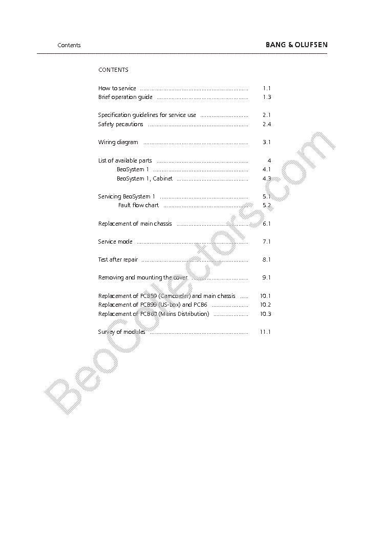 BANG OLUFSEN BEOSYSTEM 1 service manual (2nd page)