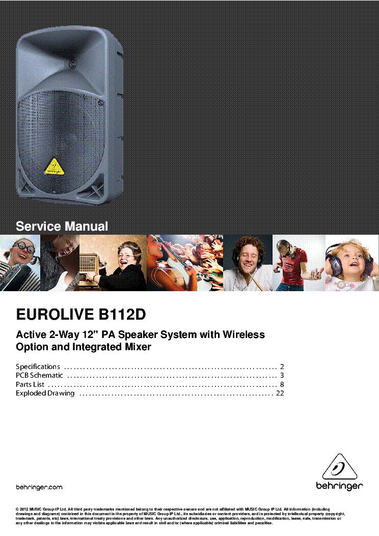 BEHRINGER EUROLIVE B112D SM Service Manual download ... on