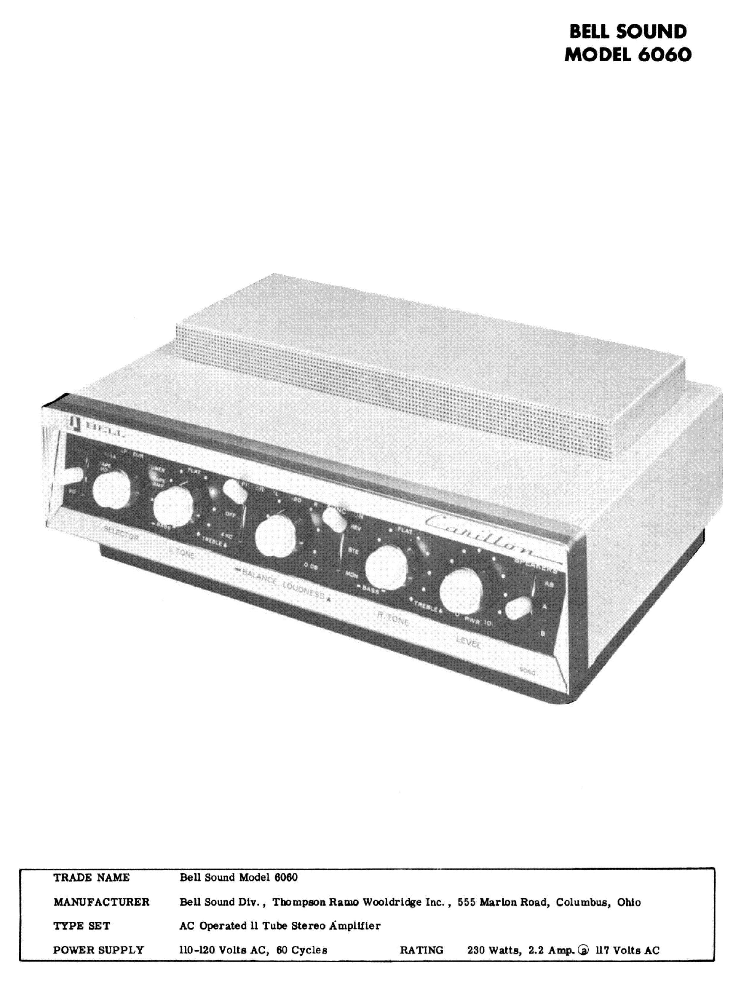 BELL-SOUND 6060 CARILLON SM Service Manual download, schematics