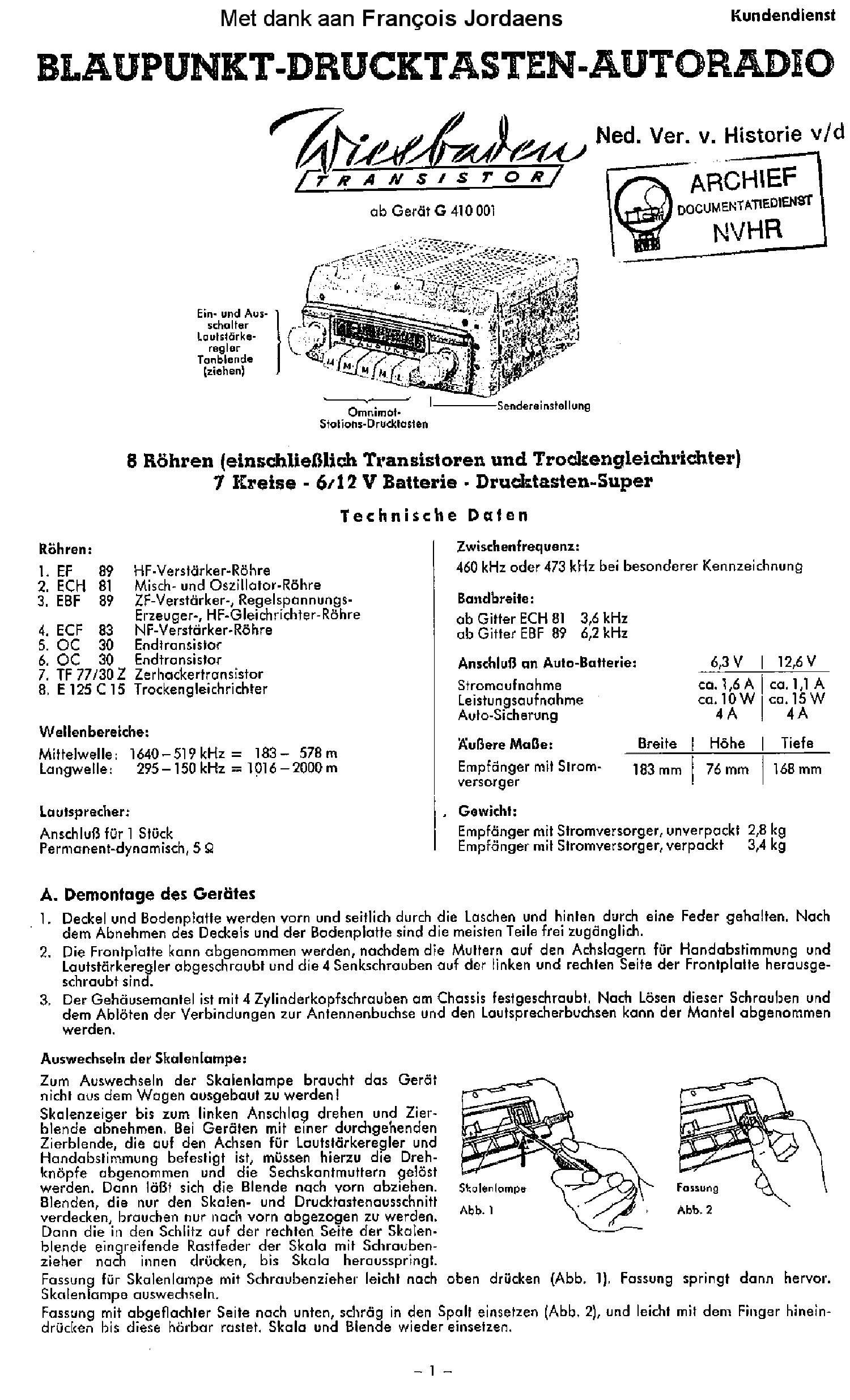 BLAUPUNKT WIESBADEN 6-12V TRANSISTOR AUTORADIO SM Service Manual ...