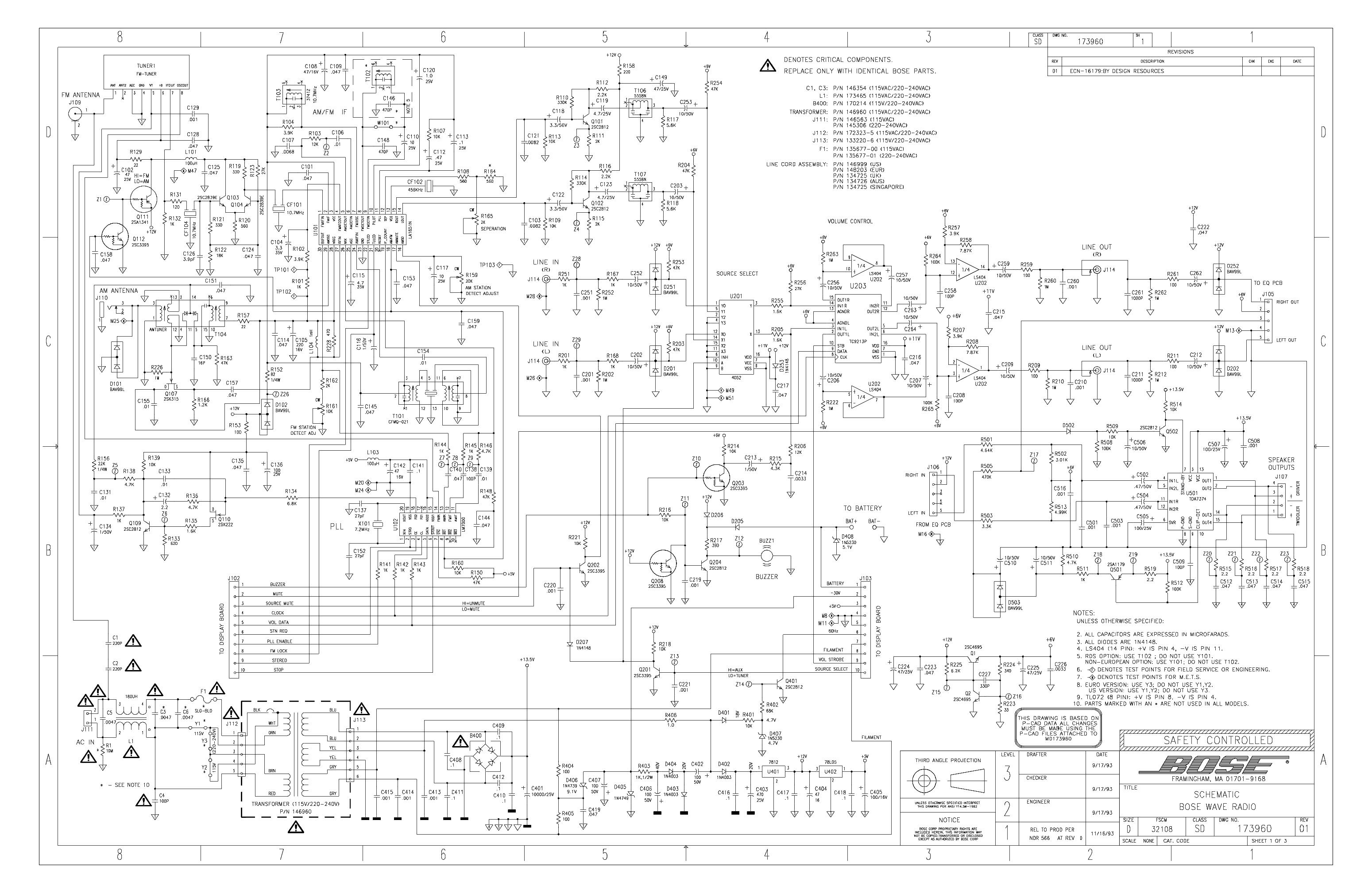 bose wave radio repair schematic