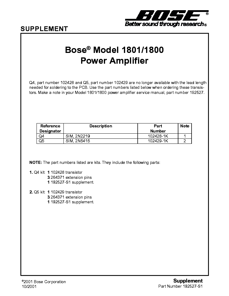 Bose 1801 Service Manual Download  Schematics  Eeprom