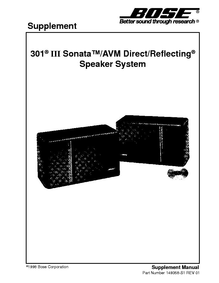 bose 301 3 sonata sm service manual download schematics eeprom rh elektrotanya com bose 301 manual pdf bose 301 manual pdf