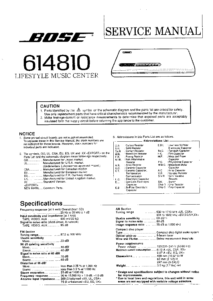 BOSE 614810 LIFESTYLE SM service manual