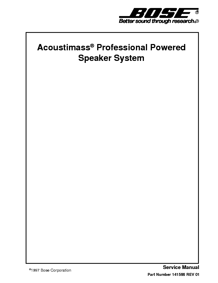 BOSE ACOUSTIMASS PROFESSIONAL SPEAKER SYSTEM service manual