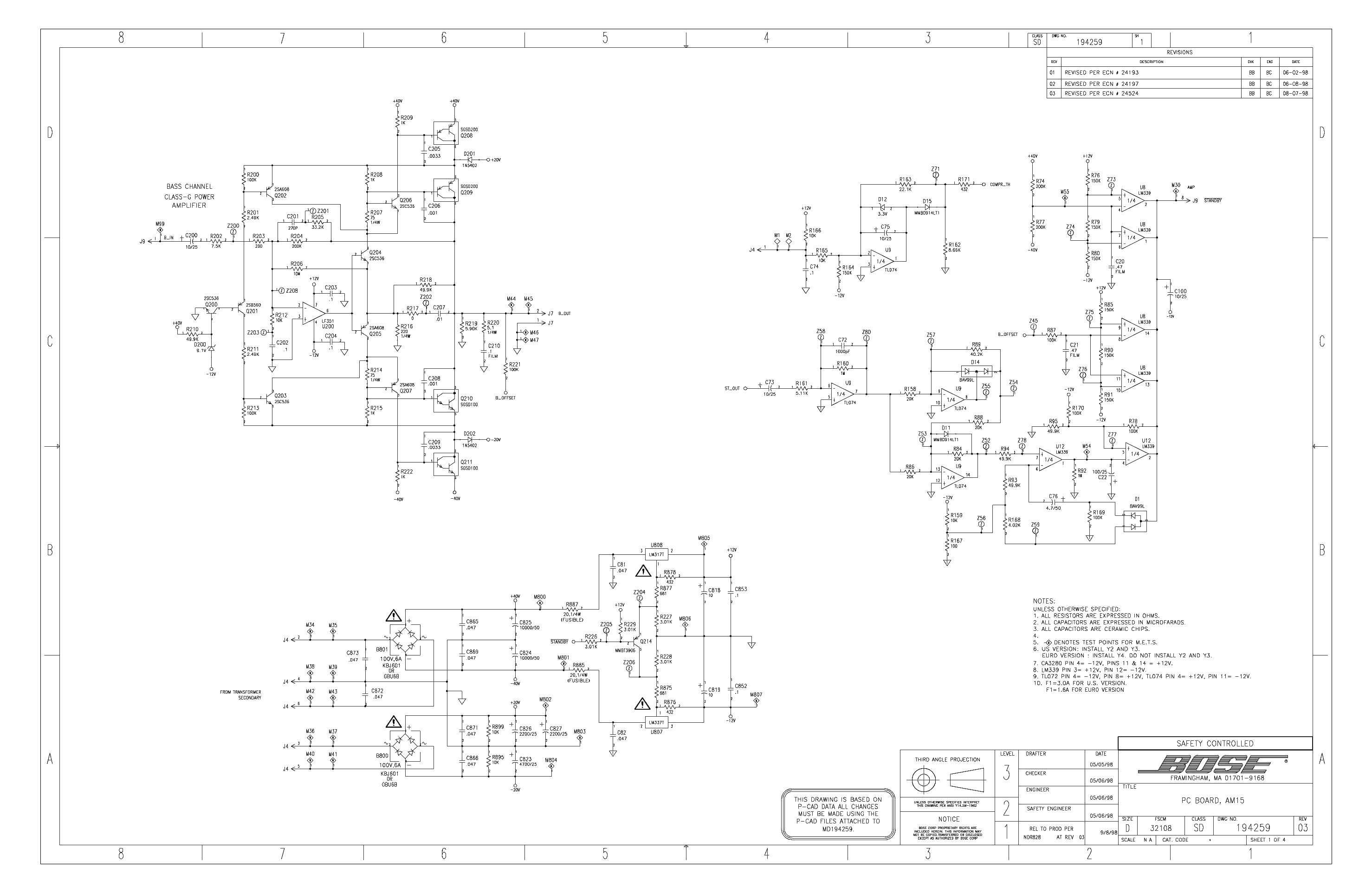 bose_am-15p_sch.pdf_1  Bose Amplifier Wiring Diagram on