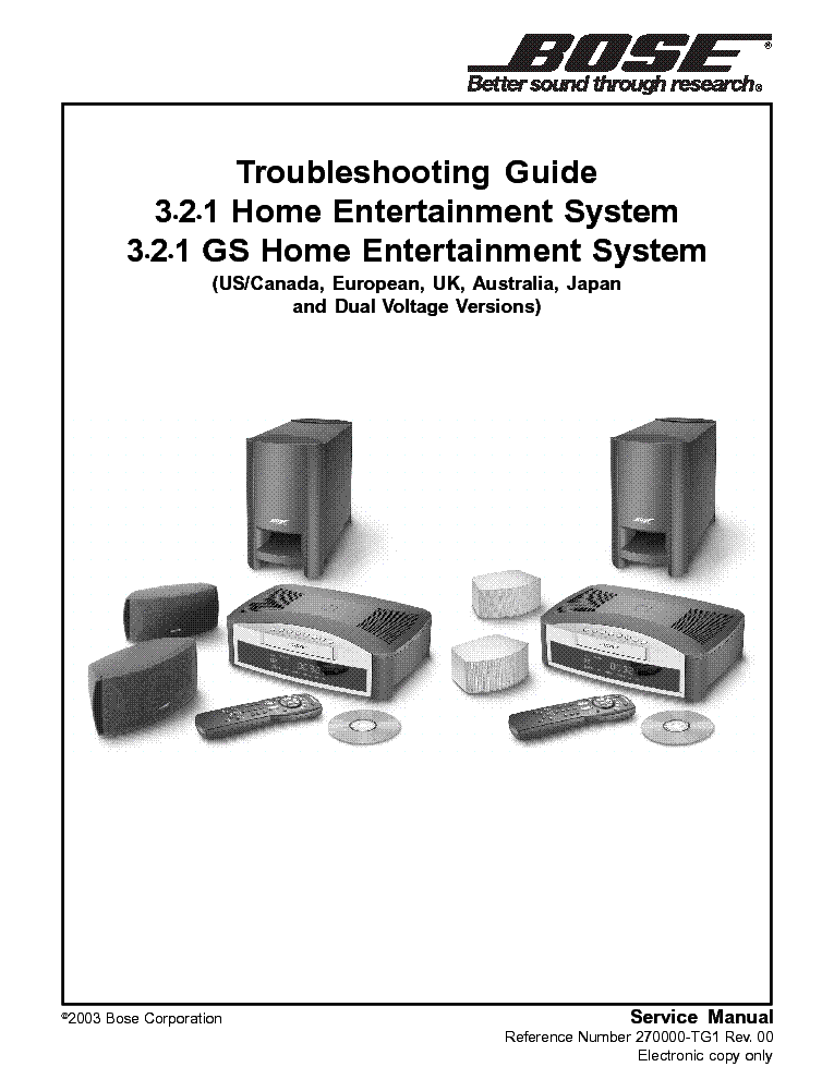 Bose av321 troubleshooting service manual download, schematics.