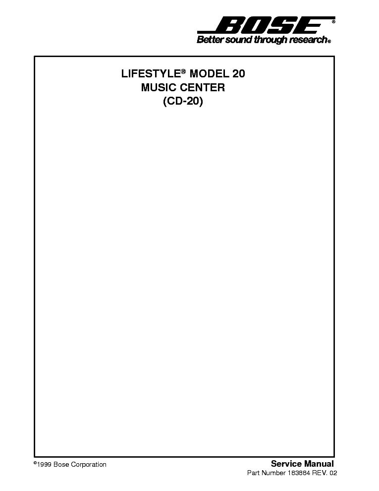 bose lifestyle cd 20 sm service manual download, schematics, eeprom Bose Lifestyle Av28 Media Center bose lifestyle cd 20 sm service manual (1st page)