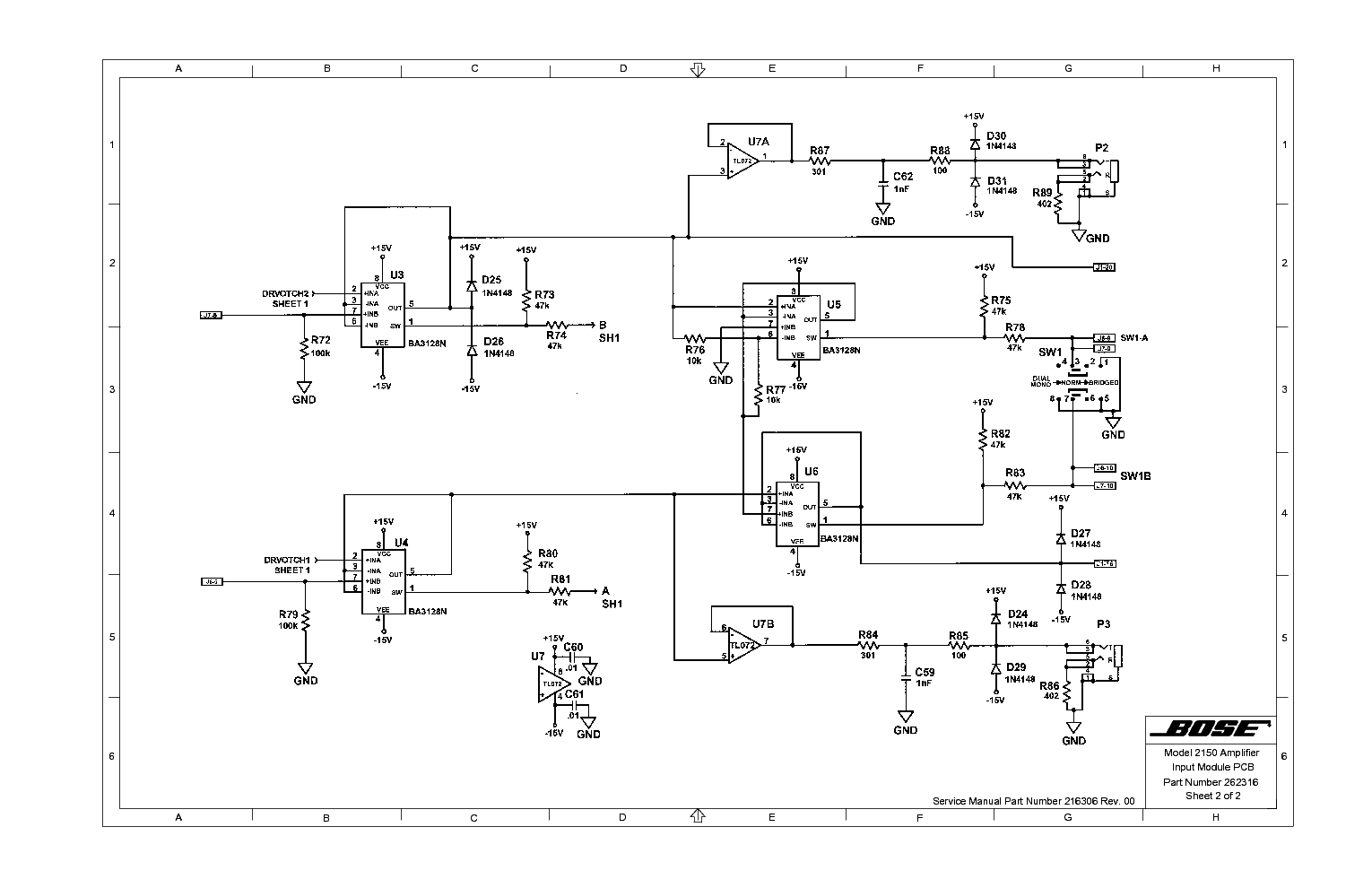 Bose Acoustimass 15 Wiring Diagram New Era Of Model 2150 Amplifier Service Manual Download 5