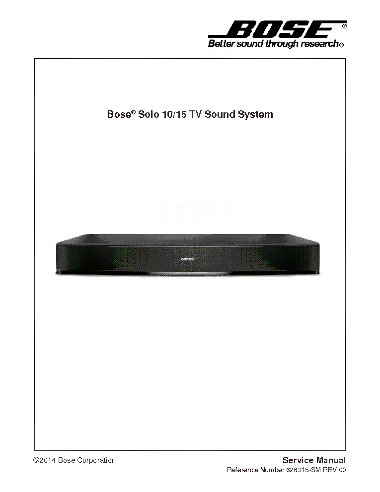 bose solo-10 15 tv-sound system rev 00 service manual (1st