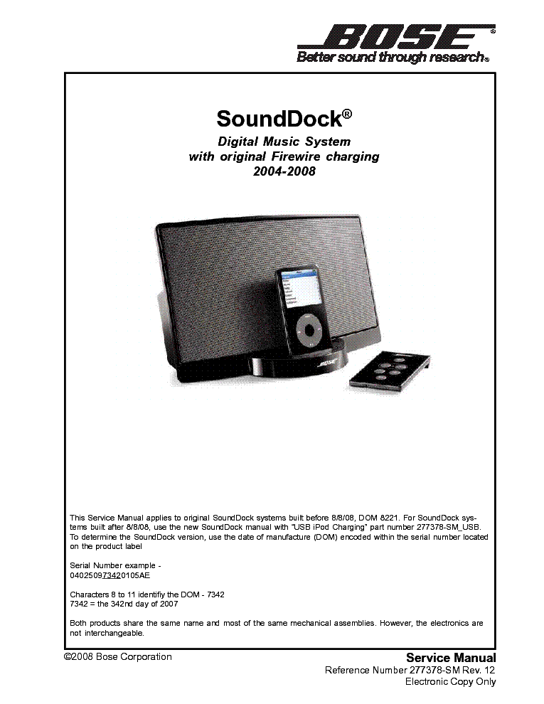 bose sounddock service manual download schematics eeprom repair rh elektrotanya com Bose SoundDock Portable Box Dimensions Bose SoundDock Portable Cover