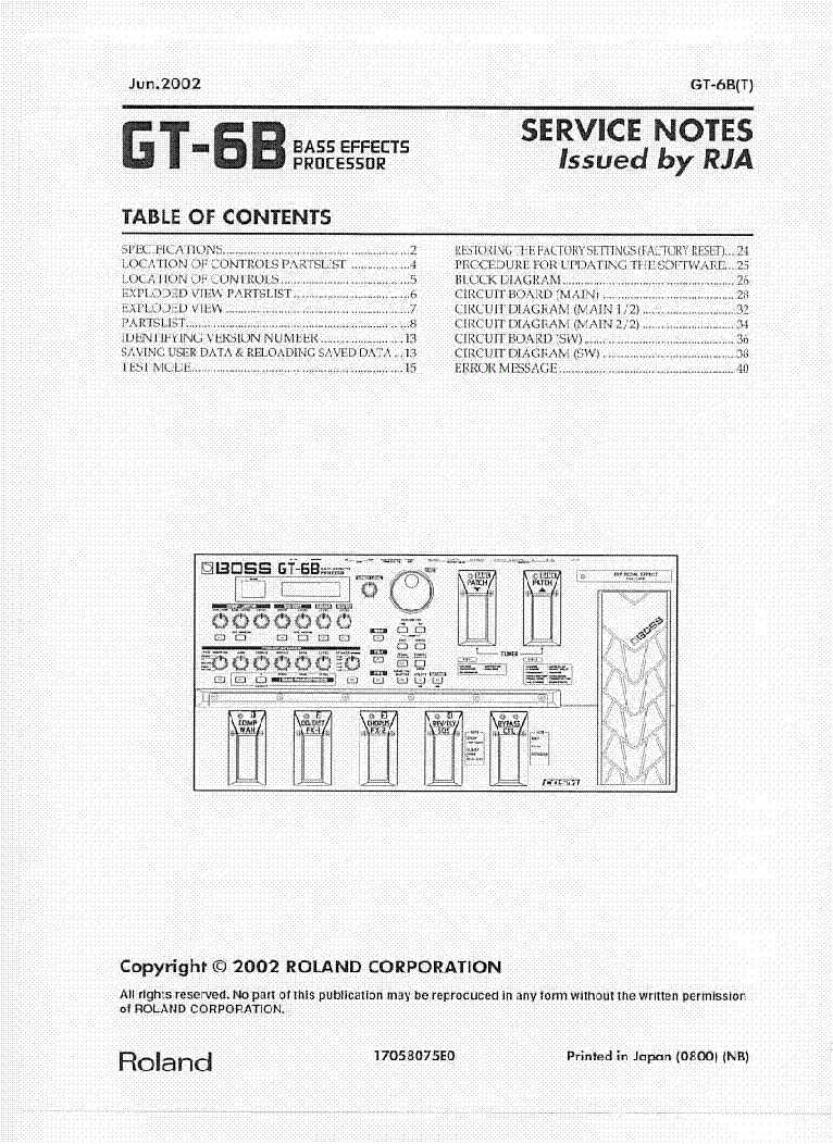boss gt 6b sm service manual download schematics eeprom repair rh elektrotanya com boss gt-6b manuale italiano Victor Wooten Boss GT-6B