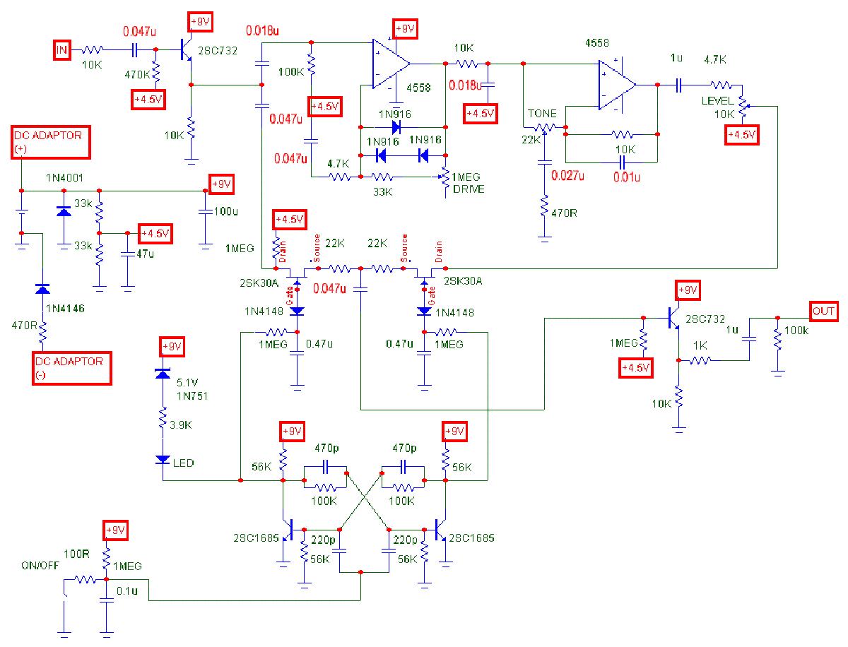 Ibanez tube screamer схема