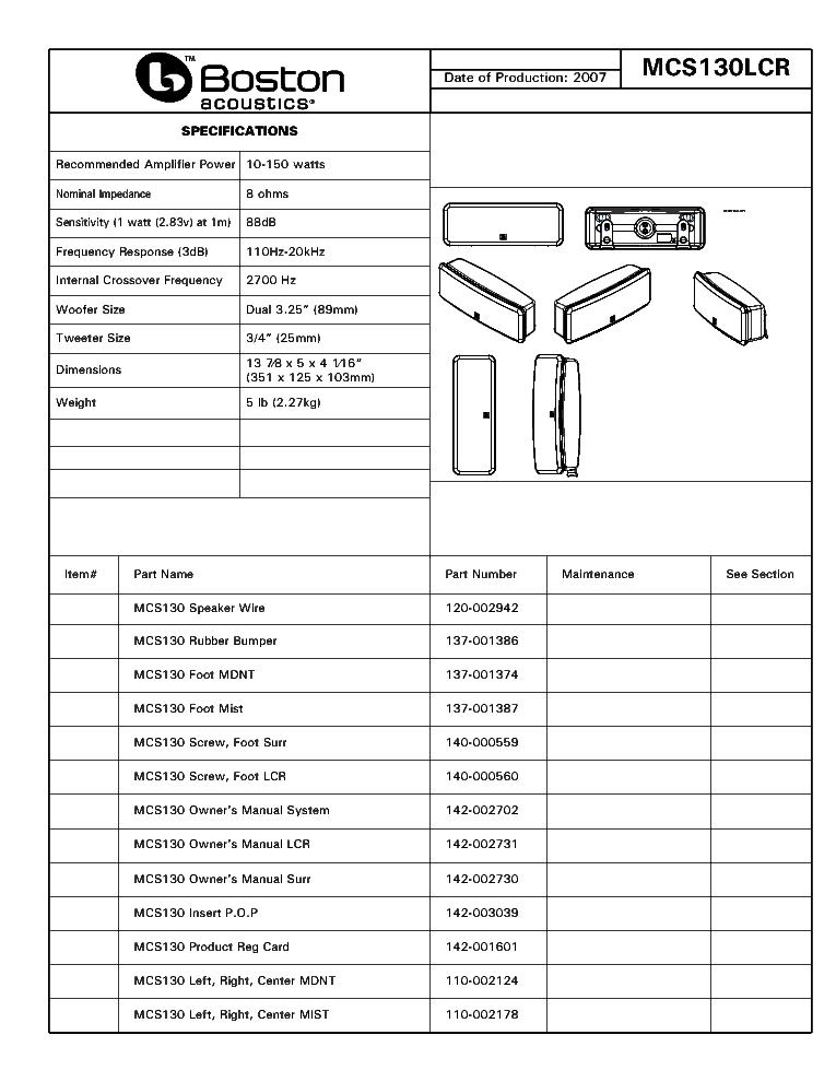 BOSTON MCS-130 Service Manual download, schematics, eeprom, repair