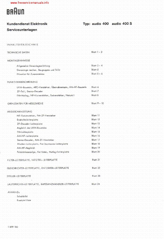 Braun Service Manual für Audio 400-400 S  Copy