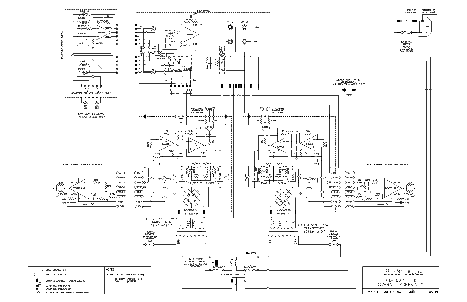 BRYSTON 3BE AMPLIFIER SCHEMATICS SCH service manual (1st page)