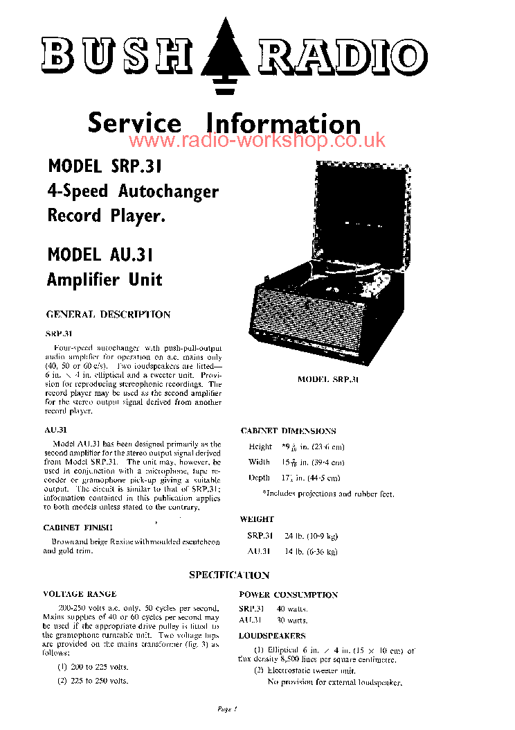 bush srp 31 service manual download schematics eeprom repair info rh elektrotanya com bush a126q repair manual bush hog th4400 repair manual